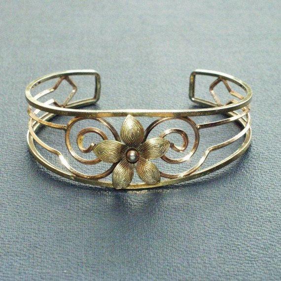 1940's Krementz Gold Bangle Cuff Bracelet two-tone gold filled Filigree GF
