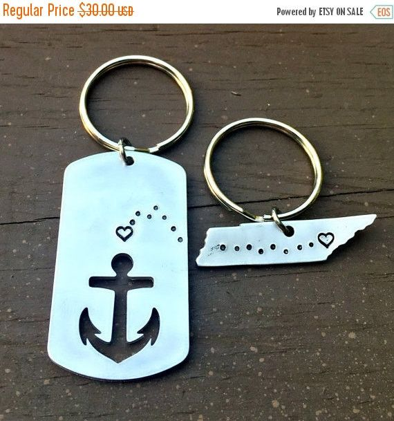 Long Distance, Deployment Gift, Going Away Present, Tennessee , Hand Stamped Key Chain, Anniversary Gifts, Husband, Boyfriend, Navy, Anchor
