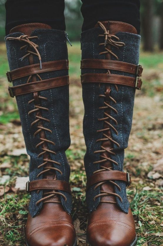 Lace Up Faux Leather Accents Tall Riding Boot –...