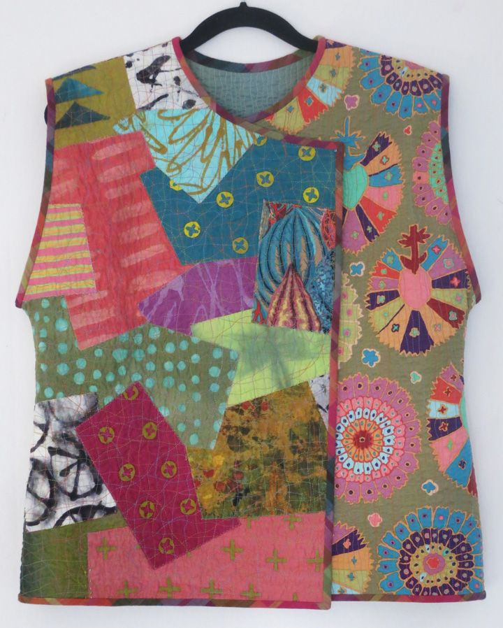"My latest surface-stitched collage vest, based on my ""Crossover Collage Vest."" www.christinebarnes.com"