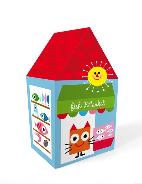 "Casita automontable / Self-assembly little house ""Fish Market"". Printable http://es.dawanda.com/shop/linavila"