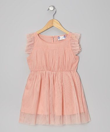 Another great find on #zulily! Peach Angel-Sleeve Dress - Infant, Toddler & Girls by Twindollicious #zulilyfinds