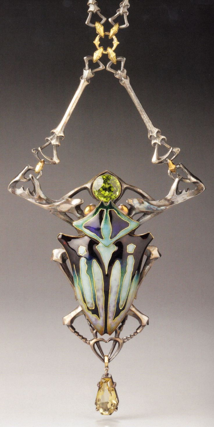 An Art Nouveau gold, silver, citrine and peridot 'Stag Beetle' necklace, by Lucien Gaillard, Paris, circa 1905. Source: Wolfgang Glüber, Jugendstilschmuck