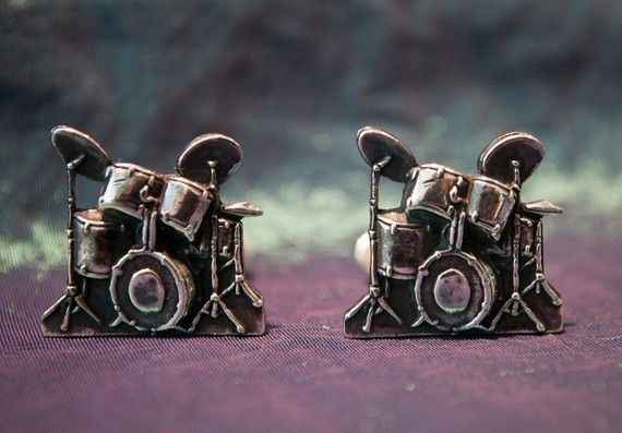 Sterling Silver Drum kit Cufflinks by beaujangles on Etsy, $45.00
