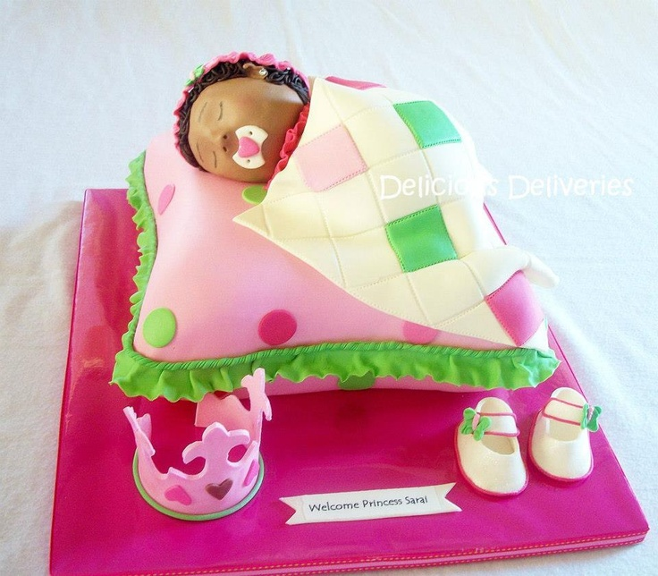 Baby girl cake.  Pillow pink