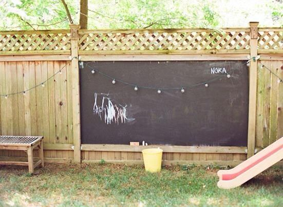 How funny cuz i totally had this chalkboard idea for a blank corner behind our kids playhouse! Great Kid Play Yard Idea!!
