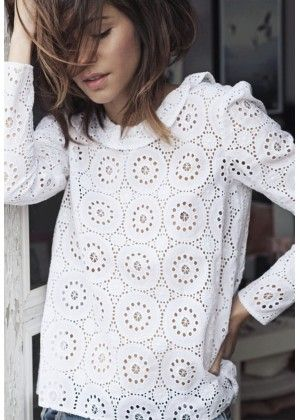 Top HERMIATGE broderie anglaise blanche