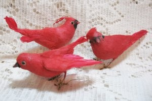 Feathered Christmas Cardinal Birds @ Vintage Touch ~ SOLD