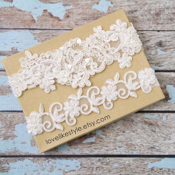 Light Ivory Pearl Beaded Lace Wedding Garter Set By Lovelikestyle