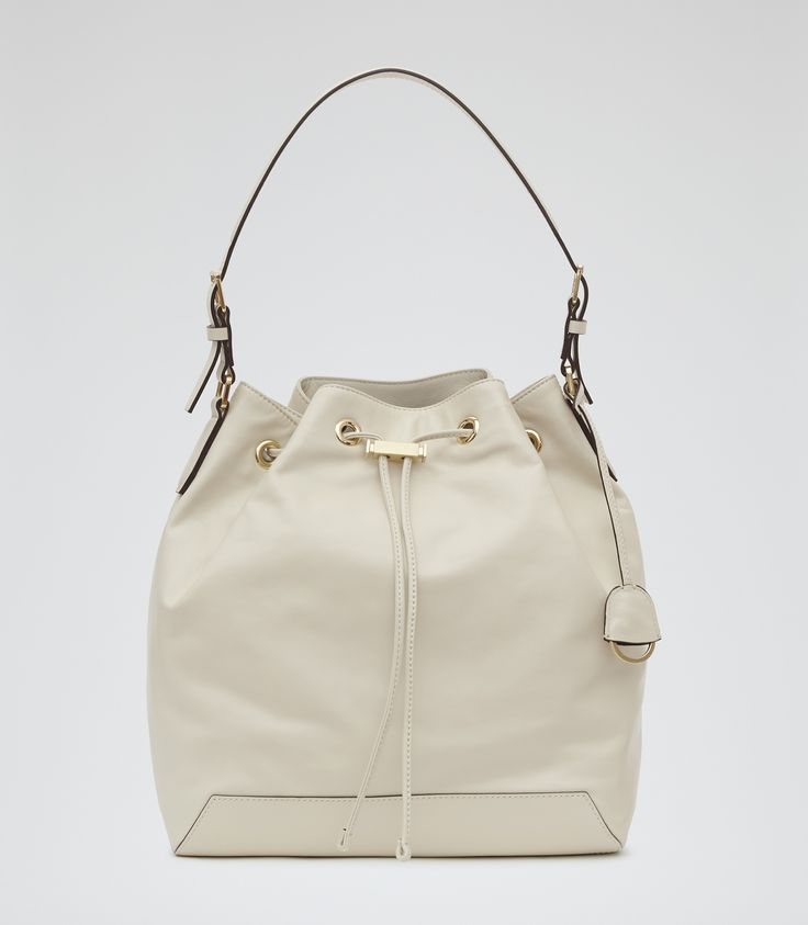 Womens Cream Leather Bucket Bag - Reiss Navarre
