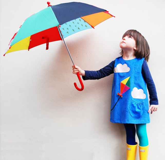 Girls dress- Kite and Silver Cloud- windy day- blue cord pinafore