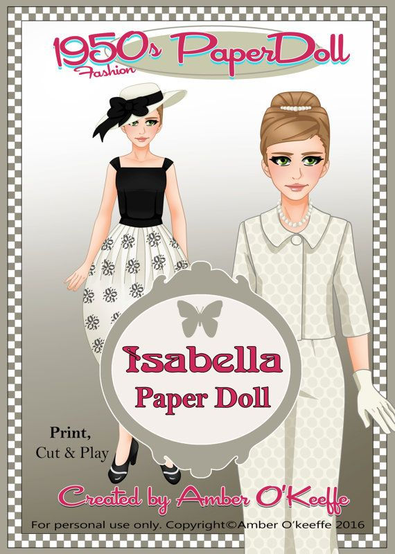 1950s Isabella Paper Doll Collection 5 by OkeeArts on Etsy