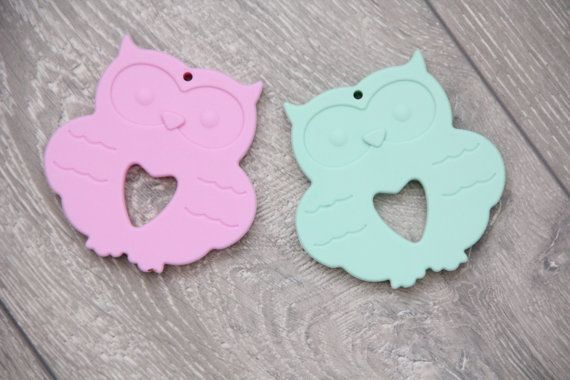 Silicone teether mint owl toy silicone pink owl от TeetherLand