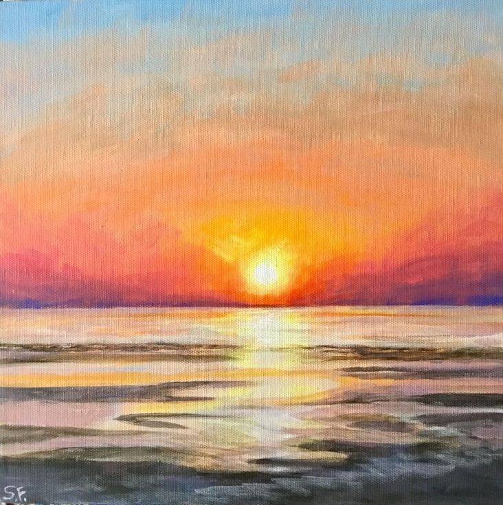 New Dawn Sunset Art Seascape Paintings Acrylic Seascape Paintings