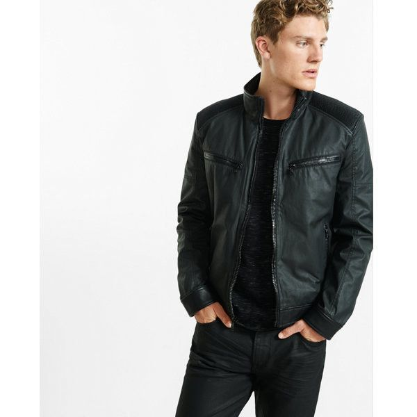 Express Coated Cotton Racer Jacket ($148) ❤ liked on Polyvore featuring men's fashion, men's clothing, men's outerwear, men's jackets, black, mens zip up jackets, express mens jackets, express mens outerwear and mens jackets