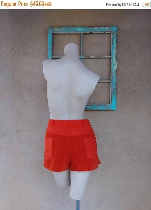 ON SALE Vintage 1970s Mens Shorts 70s Head Tennis Wear Orange Hot Pants Polyester Terry Cloth W36 #ShortShorts #70sShorts #TerryCloth #MensShorts #festival #disco #hamptons #HotPants #1970sFashion #SoulTrain
