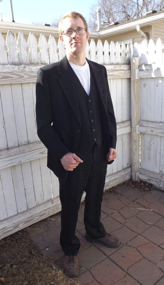 Vintage Black Mens Suit 3 piece 42 R 36 Pants 70s by soulrust, $99.99