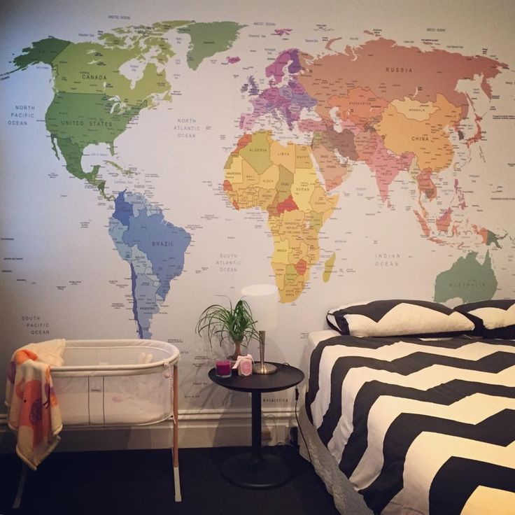 Educational Nursery - 'World Map Colour' Pickawall Wallpaper