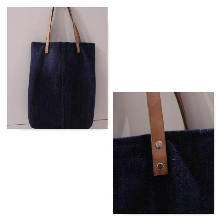 sac en jean de récupération, lanières de cuirs et rivets