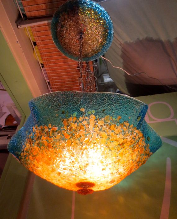 Blown Glass Chandelier - Custom Glass Lighting - Glass Lamp -  Hand Blown - Turquoise Amber