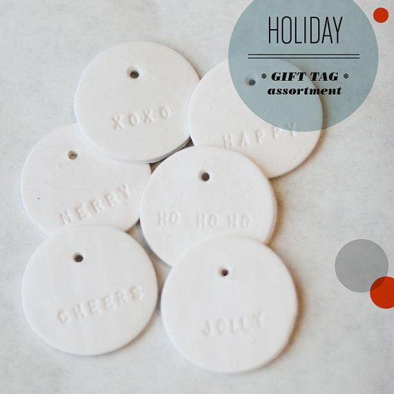 HOLIDAY ASSORTMENT : Small Round White Gift Tag (quantity 6). white clay gifttags