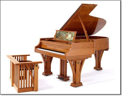 """Steinway's """"Grove Park"""" piano uses white oak veneers throughout this unique design as there is a delicate and deliberate balance of both architectural and furniture design incorporated into the overall theme of this piano. The style techniques are synonymous with the Arts & Crafts Movement, the period in history when Edwin Wiley Grove conceptualized building The Grove Park Inn Resort & Spa in 1912."""