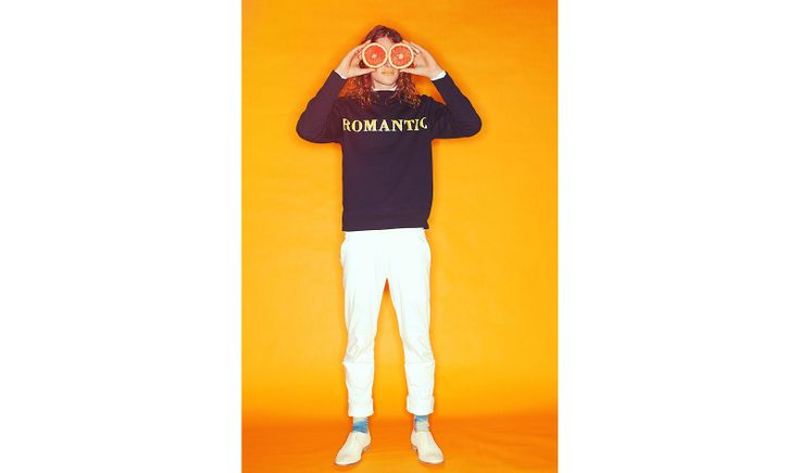 Jasper wears: Sweat shirt by Acne, shirt by Zambesi, trousers by Zambesi (shop now http://www.ZAMBESIstore.com), shoes by Maison Martin Margiela, socks stylists own.