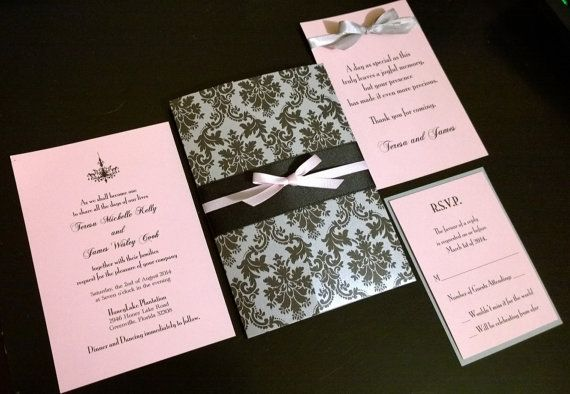 Red Black And Silver Wedding Invitations: Classic And Romantic Blush Pink, Silver