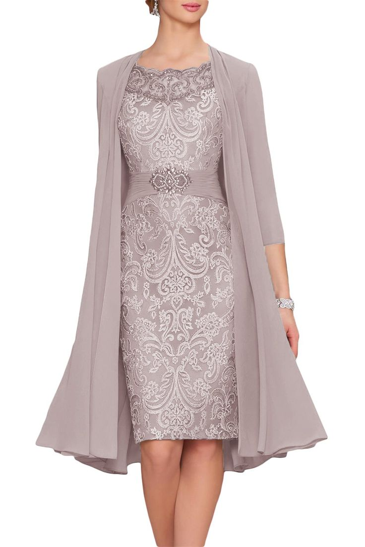 Newdeve Chiffon Mother Of The Bride Dresses Tea Length Two Pieces With Jacket ** Learn more by visiting the image link-affiliate link. #WomenDresses
