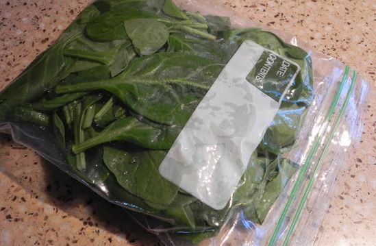 Fresh organic spinach is so yummy but always goes bad before I can finish the whole bag so now I freeze half of it for casseroles later.