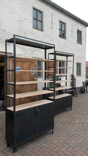 Zwarte Stellingkast Metaal.Stellingkast Zwart Metaal Met Hout Vlasakker In 2019 Loft