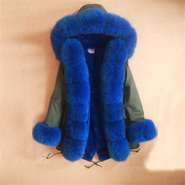Plus rozmiar 2016 nowy długie Kamuflaż kurtka zimowa kobiety znosić grube parki pelliccia naturalny istny fox fur collar płaszcz z kapturem
