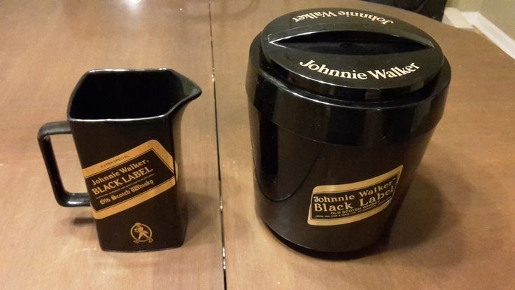 JOHNNIE WALKER BLACK LABEL VINTAGE BAR PITCHER AND ICE BUCKET SET VGC! | eBay