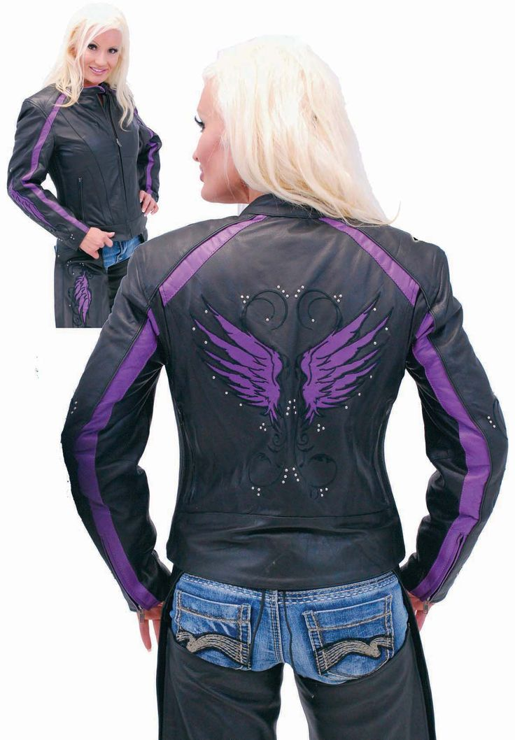 Womens leather motorcycle jacket with purple embroidered wings on each arm and on back. This purple and black motorcycle jacket with wing design has mini stud accents, reflector piping trim along the purple stripes, shoulder front vents, vertical bac?