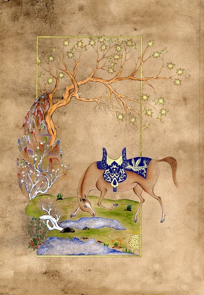 Persian miniature painting - horse drinking under tree