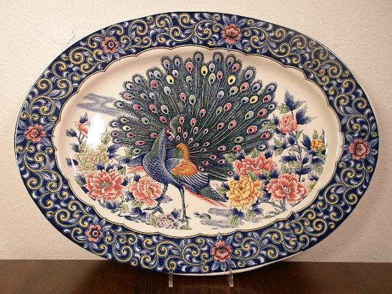 LARGE VINTAGE PEACOCK Serving Platter  Peacock by LaFemmeModerne, $68.00