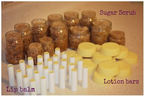 How To Make 50 Homemade Gifts In Less Than 1 Hour - I have been making my own sugar scrub like this but a lotion bar...hmmm