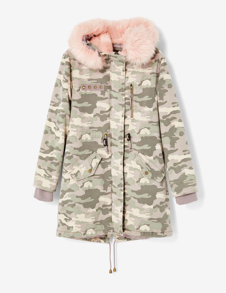 Parka longue camouflage rose clair femme • Jennyfer