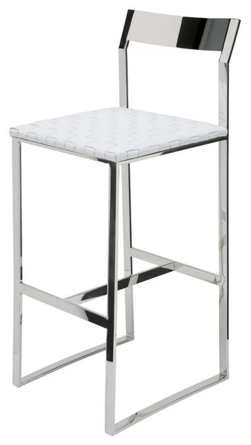 Camille Stainless Steel Bar Stool In Black Leather By
