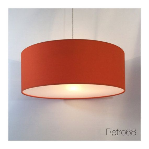 Large Oversized 45cm Drum Orange  Lightshade With by Retro68