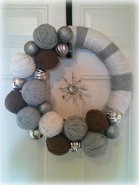Snowflake Yarn Wreath by MyCraftyMomma on Etsy, $40.00