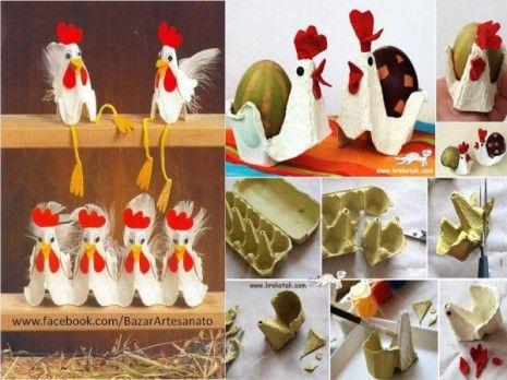 Gallinita con cartones de huevos