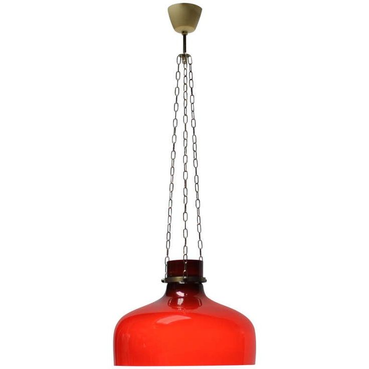 Red Pendant Attributed to Holmegaard Glassworks | From a unique collection of antique and modern chandeliers and pendants at https://www.1stdibs.com/furniture/lighting/chandeliers-pendant-lights/