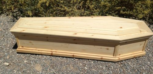 """Old West Style Pine Box """"Toe Pincher"""" Funeral Coffin Burial Casket"""