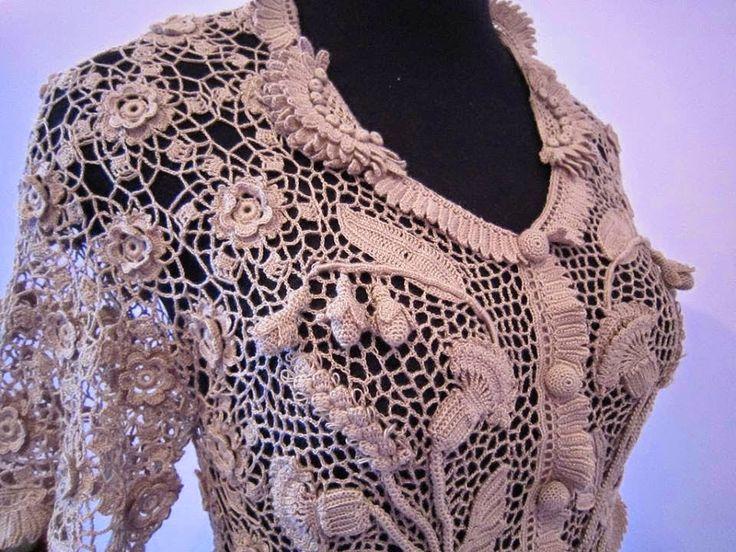 Кардиган, ирландское кружево #Irish_crochet
