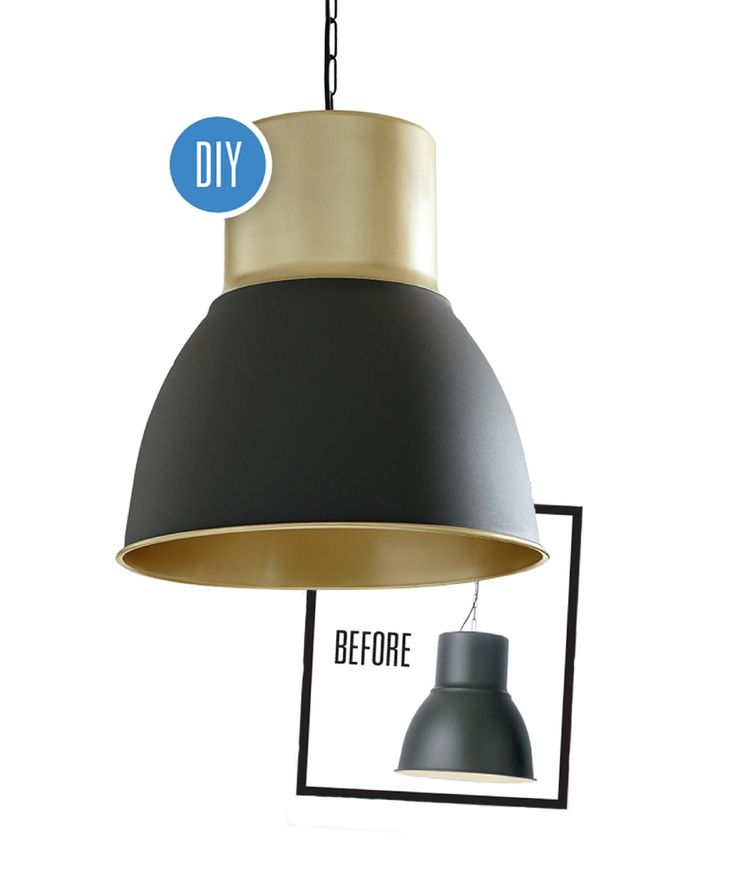Glam up a plain pendant light with a coat of gold spray paint {PHOTO: Michael Nangreaves}
