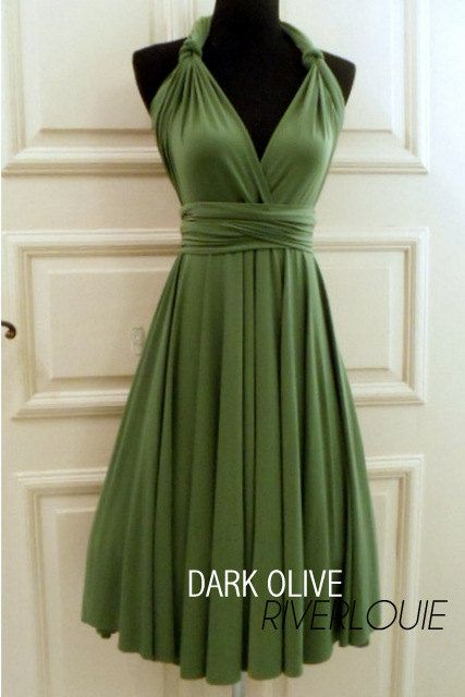 Not my wedding colors, but this is an amazingly stunning dress and one of my FAVORITE colors. DARK OLIVE GREEN Convertible Multiway Bridesmaids Wedding Maternity Prom Dress via Etsy