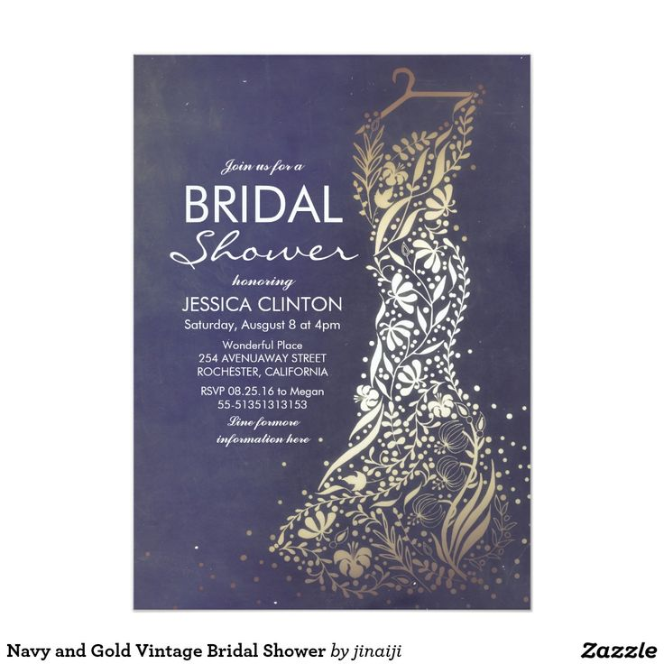 free e cards bridal shower invitations%0A Navy and Gold Vintage Bridal Shower Card