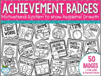 Motivate your students and track academic successes with this Achievement Badge system! Students can earn academic badges as they show skill mastery in your classroom. This system can be as individualized as you need it to be! Add teacher comments and/or