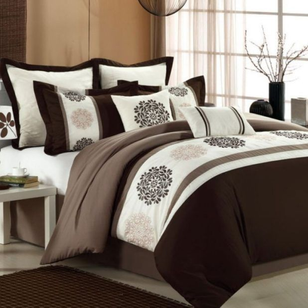 Graceful Bedroom Design with White Chocolate Brown Comforters feat White Wooden Bedside Table and Ash Wooden Flooring complete with Brown Bedroom Mat feat White Floral Shade Table Lamp